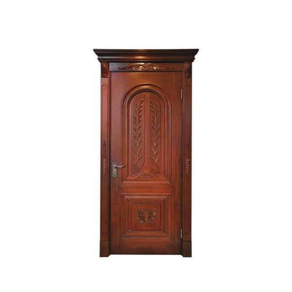 China WDMA Hand Carved Single Wooden Door Design With Frame