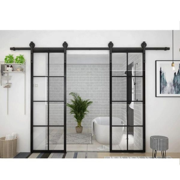 WDMA House Frameless Aluminum Profile Single Frosted Tempered Glass Interior Internal Pocket Door Toilet