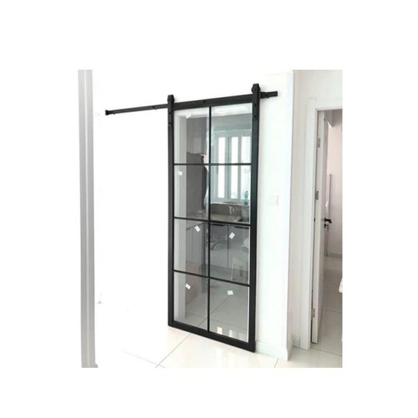 China WDMA House Frameless Aluminum Profile Single Frosted Tempered Glass Interior Internal Pocket Door Toilet