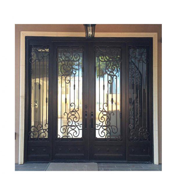 WDMA House Front Door Double Main Door Grill Design With Sidelight Wrought Iron Door