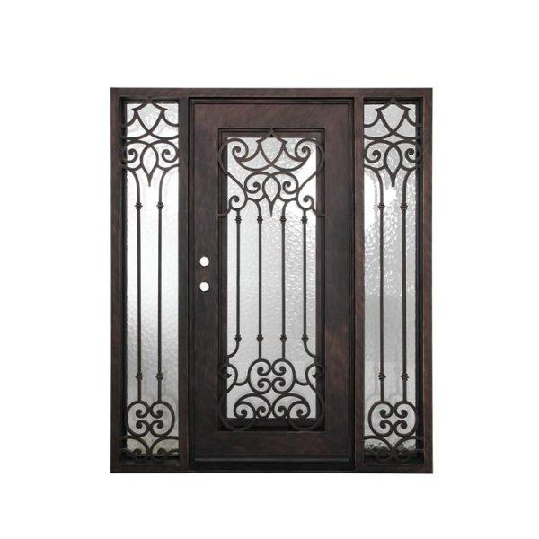 China WDMA House Front Door Double Main Door Grill Design With Sidelight Wrought Iron Door