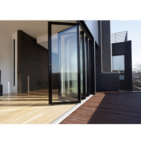 WDMA Hurricane Impact Patio Bifold Doors Soundproof 2 Panel Aluminium Folding Doors For Exterior Entrance