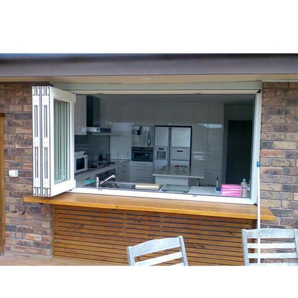 WDMA Interior Brown Aluminum Alloy Style Folding Bi-fold Office Glass Sash Joint Windows With Built In Blinds