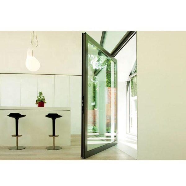 China WDMA Interior Exterior Entry Aluminium Metal Pivot Front Glass Door System
