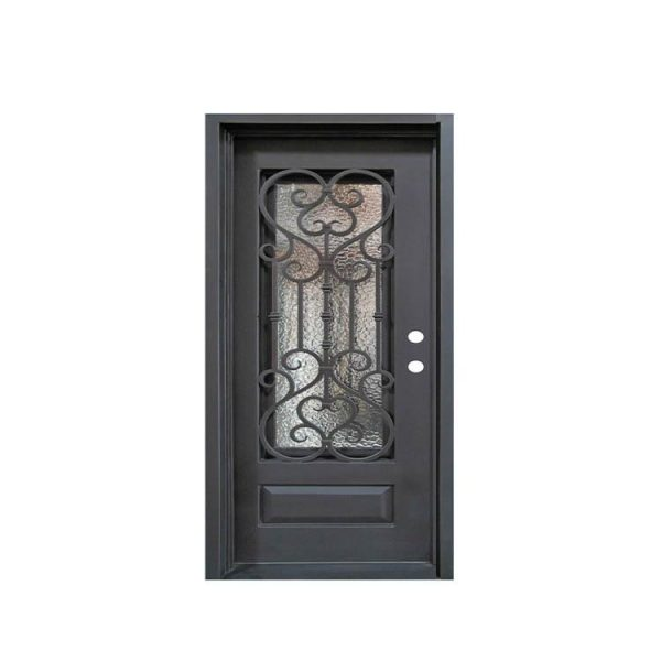 China WDMA Laser Cut Antique Old Wrought Iron Front Single Door For Luxury Villa