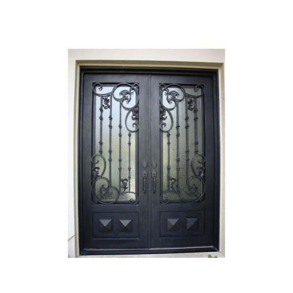 China WDMA wrought iron doors with glass