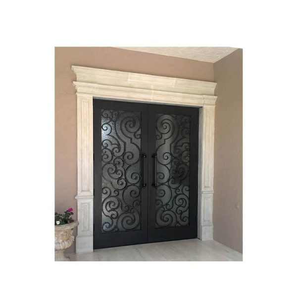 China WDMA Luxurious Black Arch Forged Iron Double Entry Door For Apartment Design