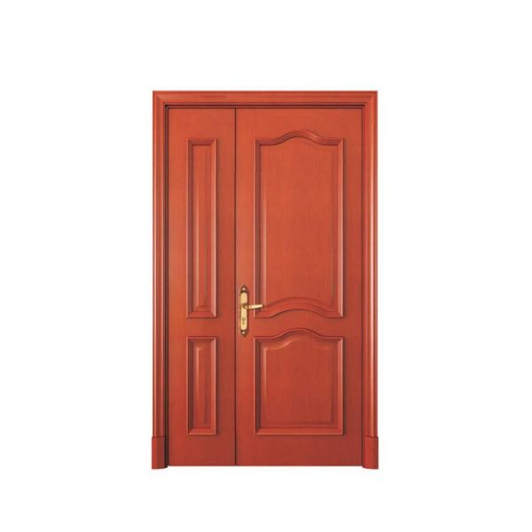 WDMA Luxurious Luxury Classic Italian Interior Ready Made House Solid Merbau Double Wooden Mosque Acoustic Door With Decorated Glass