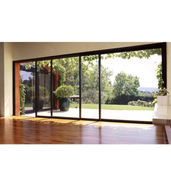 WDMA Luxury Hurricane Proof Heavy Duty Main Entrance 4 Panel Powder Coated Aluminum Frame Sliding Glass Doors