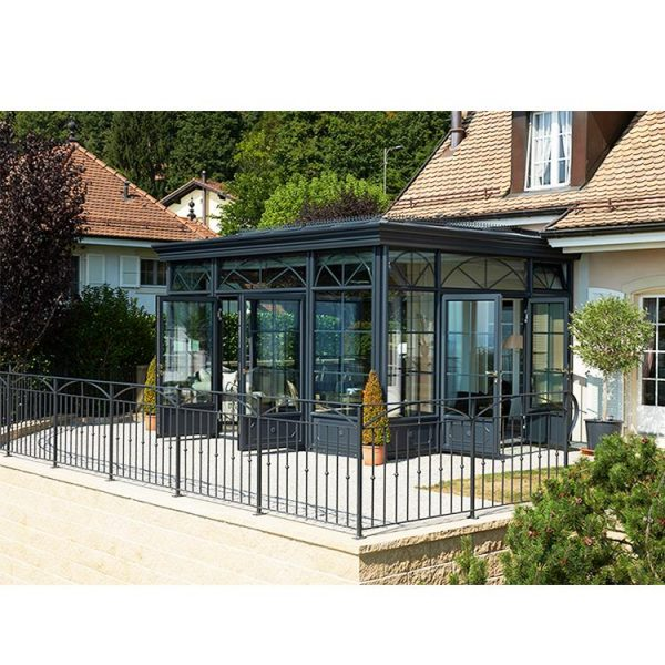 China WDMA Modern Design Garden Glass Green house for Pool Grey Color
