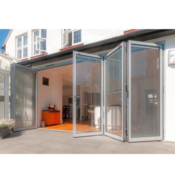 China WDMA Outdoor Aluminium Bifold Folding Balcony Patio Triple Glass French Doors