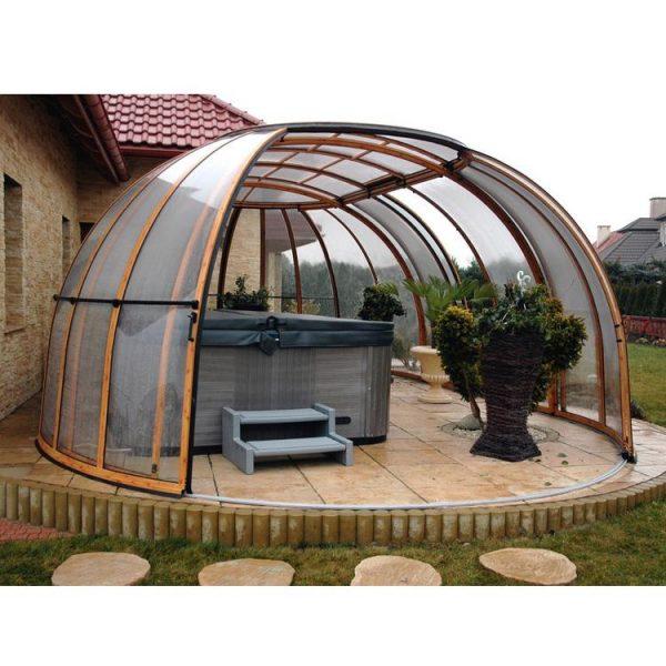 WDMA Outdoor Aluminum Frame Retractable Polycarbonate Patio Swimming Pool Cover Sunroom Enclosure