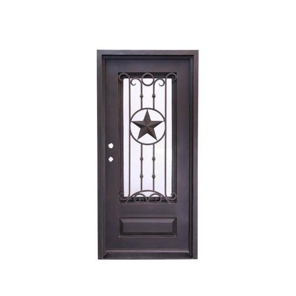 WDMA Outdoor Modern Exterior Entry Owes Arch Top Double Wrought Iron Security Door With Glass Inserts Grill Design