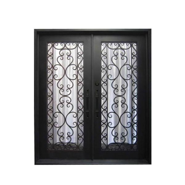 China WDMA Outdoor Modern Exterior Entry Owes Arch Top Double Wrought Iron Security Door With Glass Inserts Grill Design