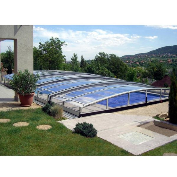 WDMA Outdoor Polycarbonate Retractable Swimming Pool Glass Cover