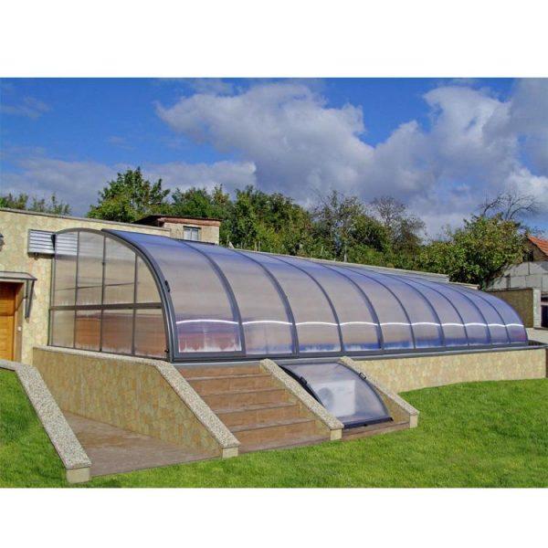China WDMA Polycarbonate Glass Swimming Pool Cover Aluminum Sliding Pool Roof Swimming Pool Cover