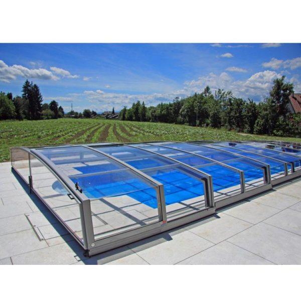 WDMA Polycarbonate Swimming Pool Cover Roof Retractable Outdoor Enclosure Aluminium Pool Covers Swimming