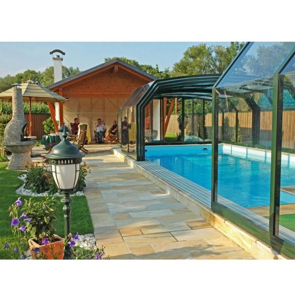 WDMA Polycarbonate Swimming Pool Cover Sliding Glass Roof Retractable Aluminium Sunrooms Glass Houses