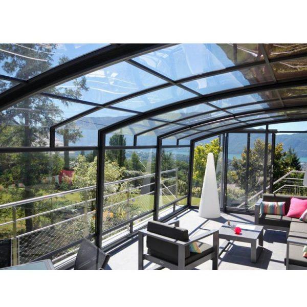 WDMA Prefabricated Swimming Pool Enclosure Tempered Glass Sunrooms Aluminum Frame Polycarbonate Retractable Sunroom Roof
