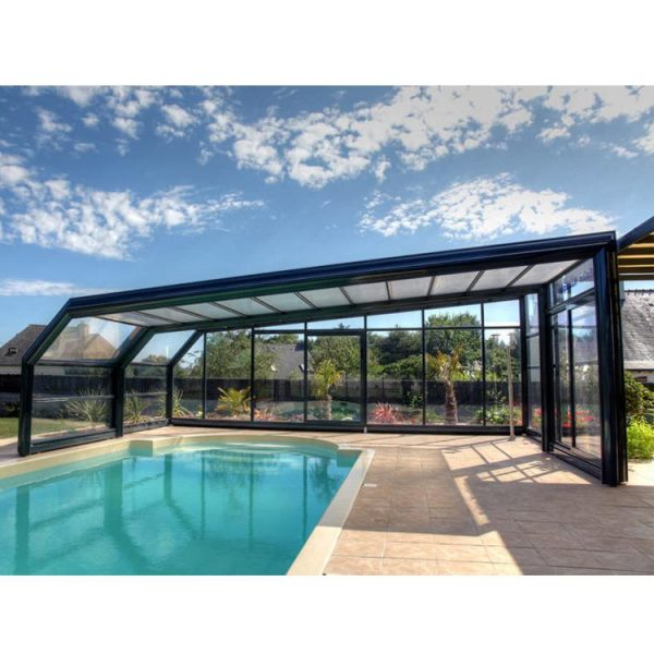China WDMA Prefabricated Swimming Pool Enclosure Tempered Glass Sunrooms Aluminum Frame Polycarbonate Retractable Sunroom Roof