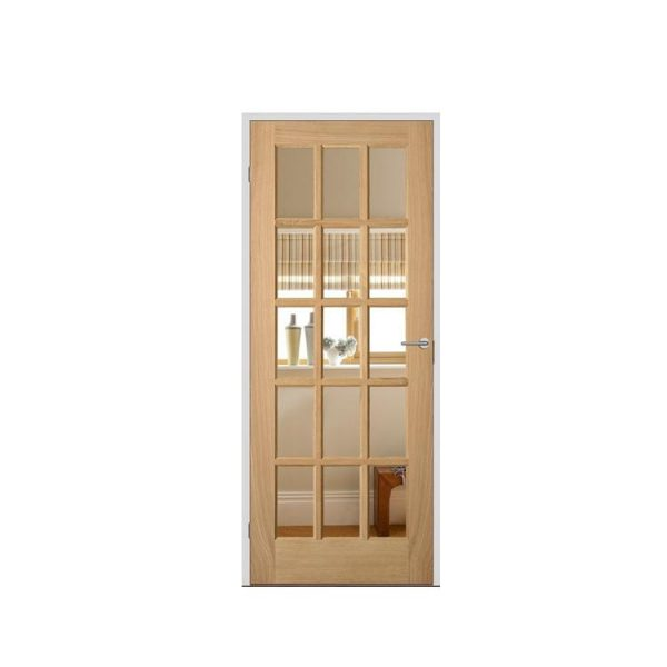 China WDMA Solid Main Exterior Door Wood With Glass Carving Design
