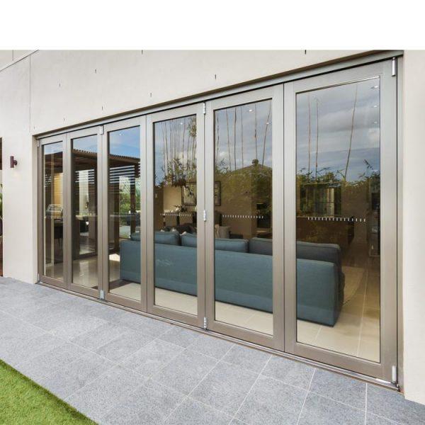 China WDMA Soundproof Glass Sliding Multi-bi Folding Glass Doors Insulated Patio System