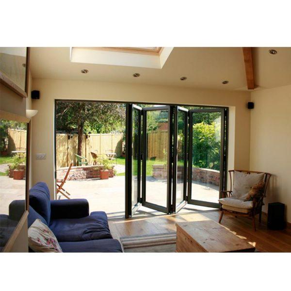 China WDMA Standard Width Aluminium Alloy 4 Panel Balcony Sliding Tempered Glass Exterior Front Bifold Folding Entrance Door Window