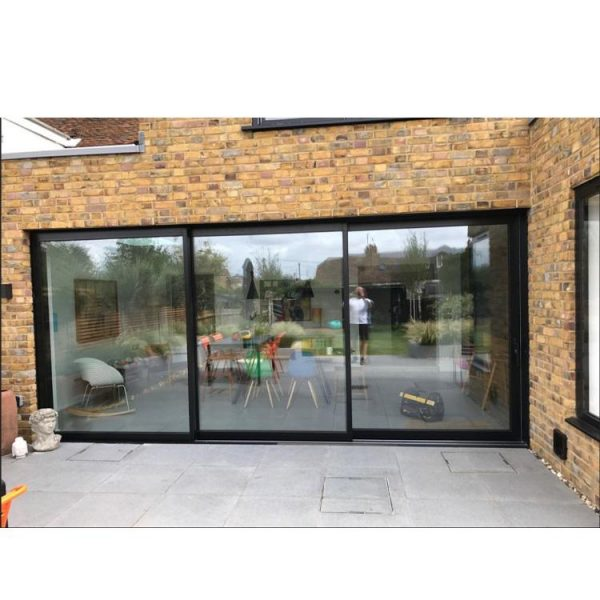 WDMA Top Hung Hanging Three Panel Triple Leaf Three Truck Tinted Sliding Side Glass Door Outside
