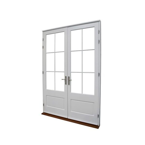 China WDMA White Weathertight Interior Inner Hard Wooden Safety Room Single Door With Stained Glass Window Design