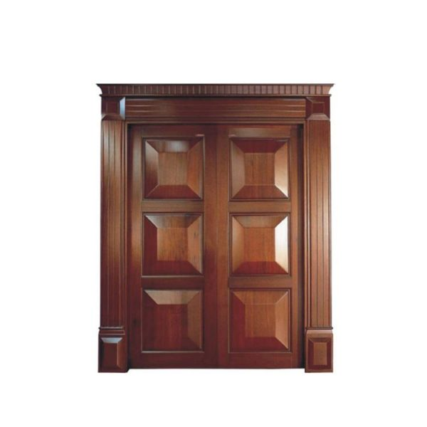 WDMA Wholesale Apartment Double Leaf Fancy Solid Core Mahogany Timber Wood Entry Front Door