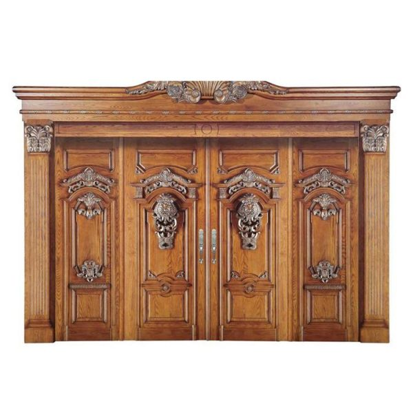 China WDMA Wholesale Apartment Double Leaf Fancy Solid Core Mahogany Timber Wood Entry Front Door