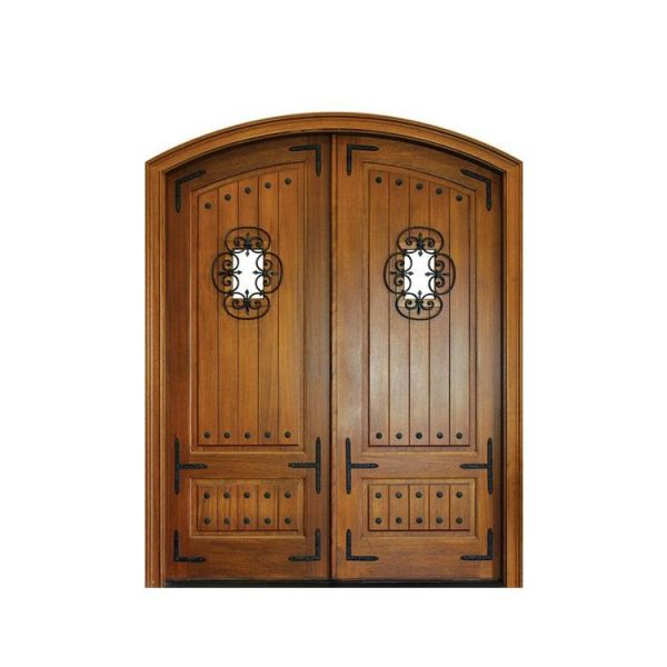 WDMA Wide Polish Design Outdoor Outer External Entrance Double Front Wooden Door Sheet With Grill