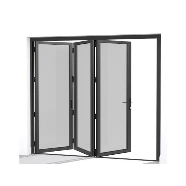 China WDMA Wood Color Aluminium Soundproof Tri Fold Doors glass Folding Double Panel Door
