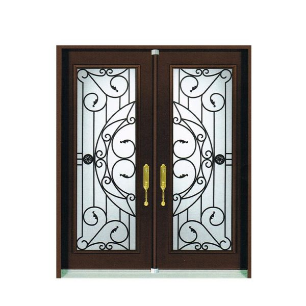WDMA Wooden Wood Wrought Iron Single Entry Door With Grape Transoms