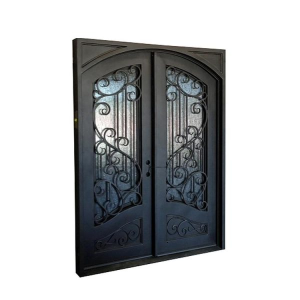 China WDMA Wooden Wood Wrought Iron Single Entry Door With Grape Transoms
